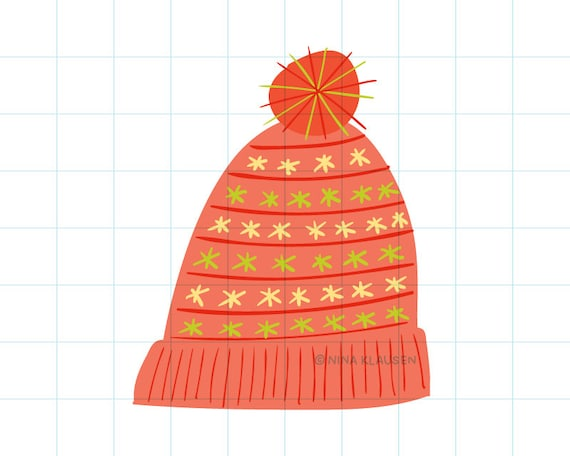 Red winter hat clip art illustration - C0061