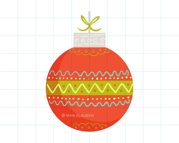 Red Christmas bauble clip art illustration - C0060