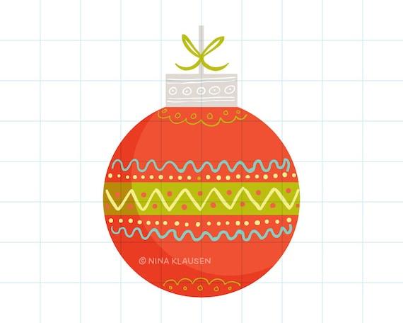 Red Christmas bauble clip art illustration - C0060