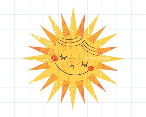 Happy sun clip art illustration - C0006