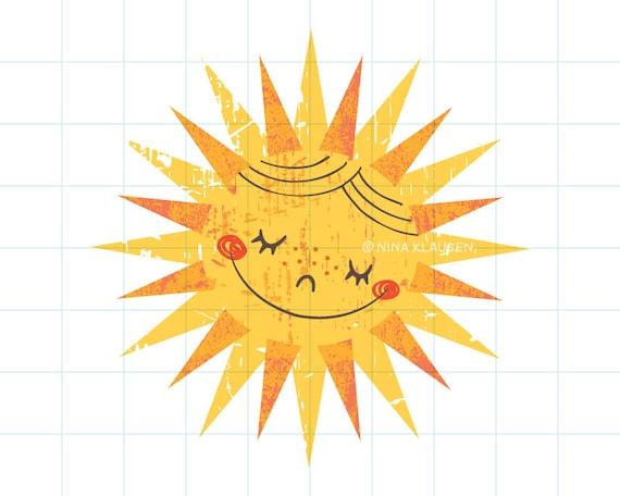 Happy sun clip art illustration - C0006