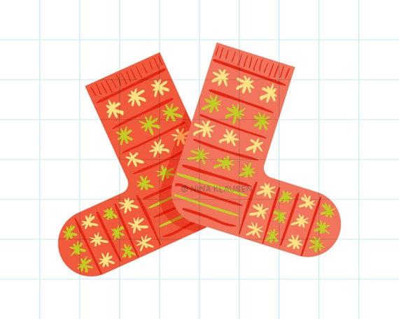 Red winter socks clip art illustration - C0062