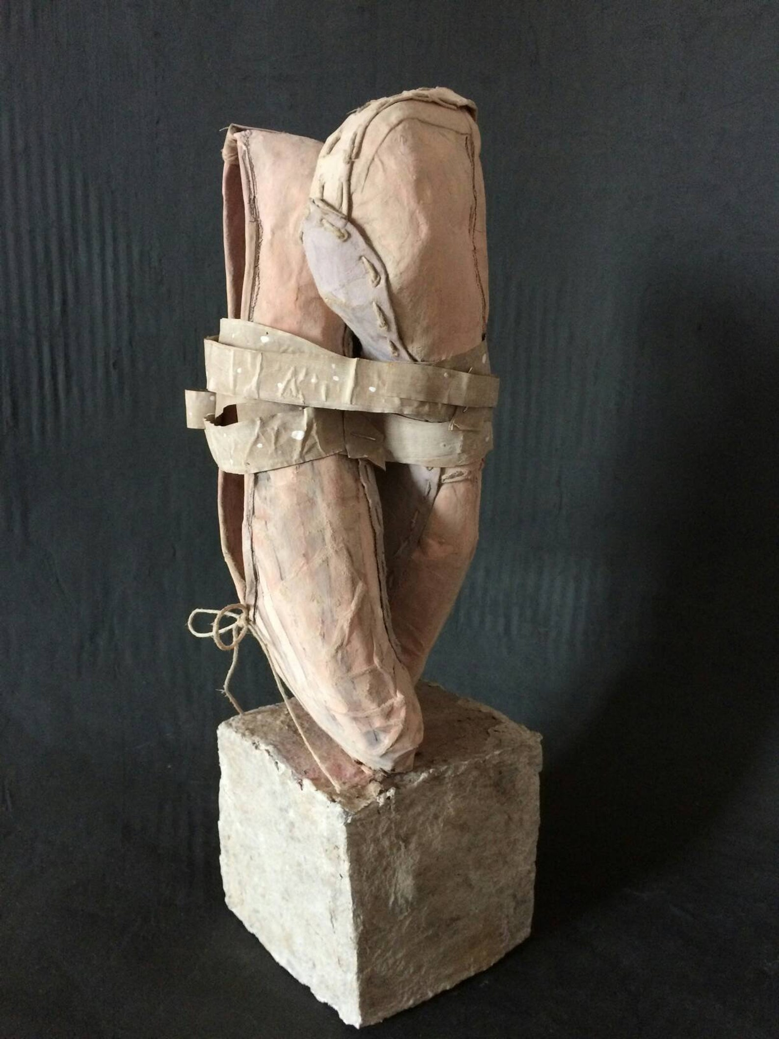 dance with me - handmade ballet shoes made of recycled paper clay and paper mache as an art object sculpture