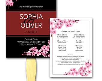 b75f5a377fc3d Wedding Program Fan, Cherry Blossom, Ceremony Programs, Hand Fan, Rustic  Wedding, Customized, Programs