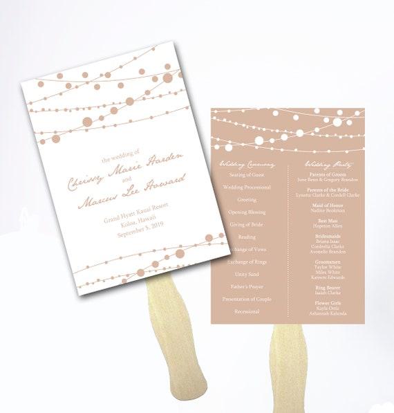 Rustic Wedding Program Fan Programs Hand Fan Customized Ceremony Programs