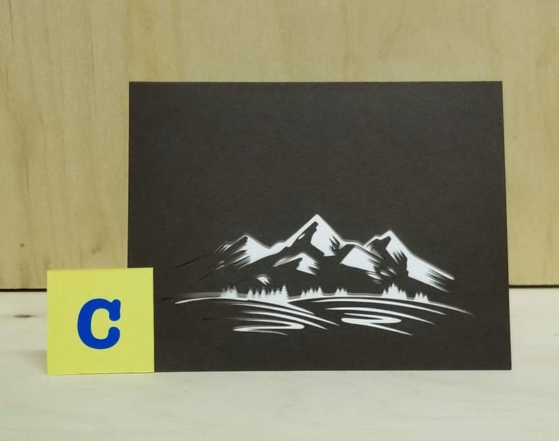 Mountain Themed Laser Cut Note Cards