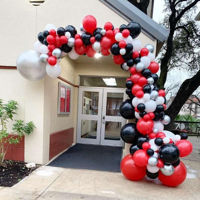 Colour Party Decorations AL Red,Black,White 15 METALLIC balloon Helium Balloons