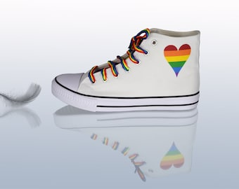 4917fa01c4bf LGBT High Tops Sneakers with Rainbow Laces
