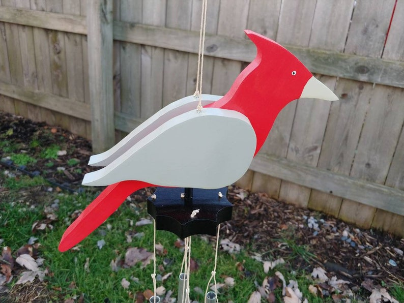 Large Crimson And Gray Bird Windchime