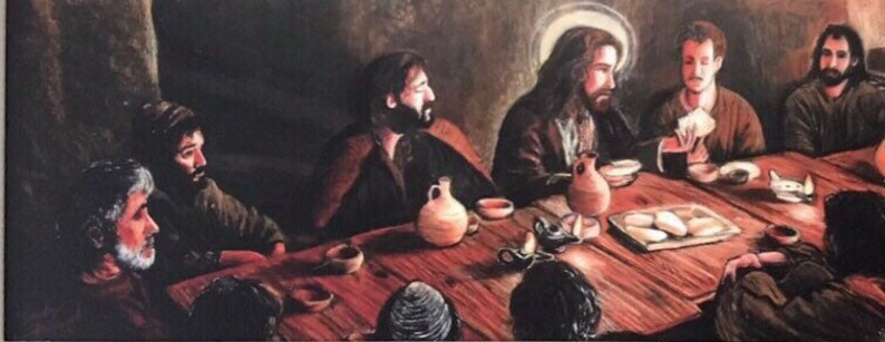 canvas giclee print of a painting by Randy Friemel Last Supper 8x26 shipping is free-! stretched canvas