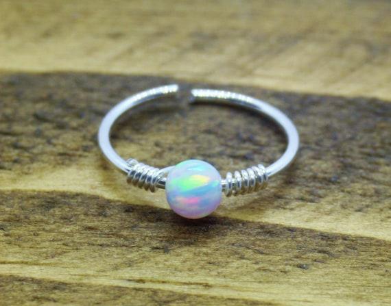 22 G Sterling Silver Twist Coil Opal Nose Ring Hoop Internal Width 8mm Cartilage Ear Body Jewellery