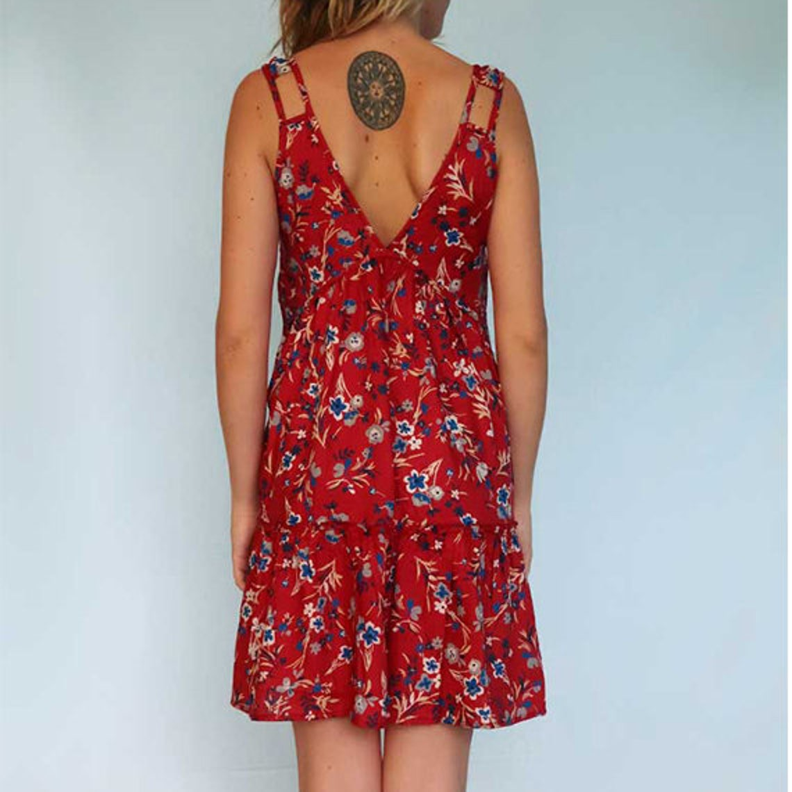 Ethical red floral dress