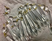 12 Murano NOS Italy VINTAGE 3 quot multifaceted spear speartip udrop crystal prisms 16mm 5 8 Octagon jewel bead chandelier sconce lamp 4 drops