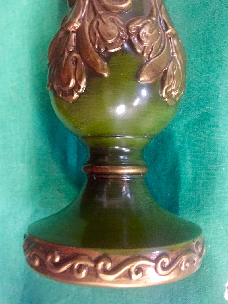 Fabulously Ornate 8 Olive Green and Goldtone Lamp Metal Riser CAPITOL MOULD /& CAST Ny Spacer Neck Stand part repair upcycled regency