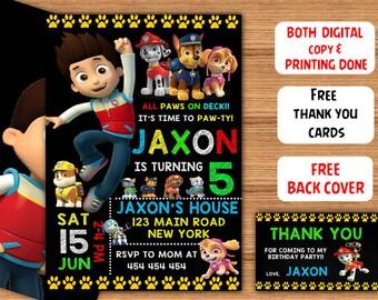 Paw Patrol Birthday Printable Invitations Party Invites Brithday Printed Invitation Free Thank You Card Back Cover