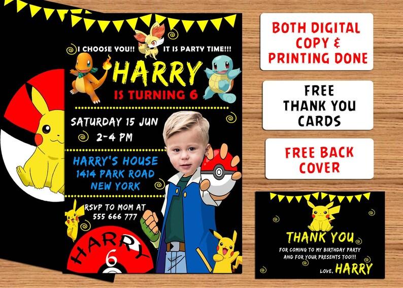 Pokemon Photo Birthday Invitations Party Invite Printable Invitation Printed Free Thank You Card Back Cover