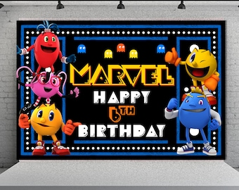 Pacman Birthday Backdrop Digital Banner Pac Man Wall Decoration Background Game Party Theme 2
