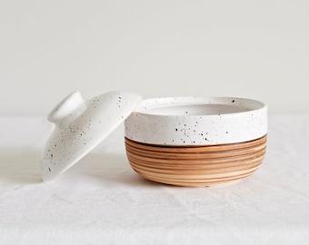 Handmade 17 oz Dalmatian Sugar Bowl with Lid | White Ceramic Sugar bowl Speckled jar | jar for sugar | Handmade Honey Pot |  Sugar Container