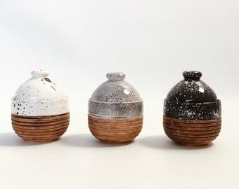 Handmade 10 oz Jar with Lid Dalmatian Stone Dark | White Ceramic Speckled jar | jar for sugar | Handmade Honey Pot |  Sugar Container