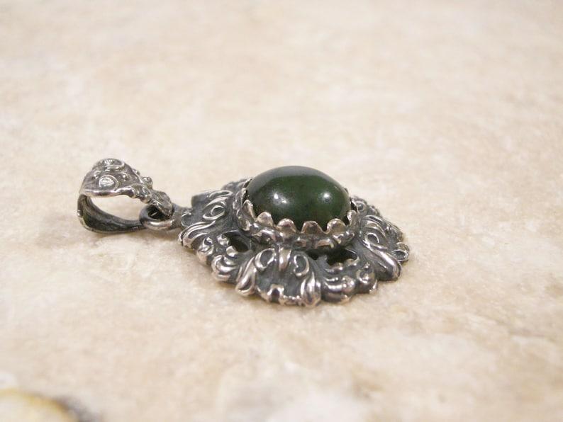 Guglielmo Cini Natural Deep Green Nephrite Jade Sterling Silver Pendant