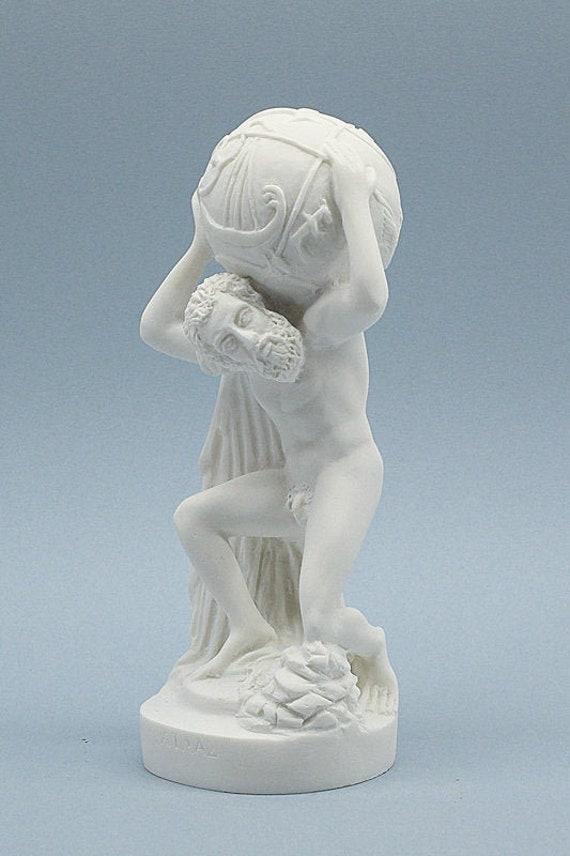 Atlas God Statue Greek Roman Mythology Alabaster Figurine Sculpture 18cm