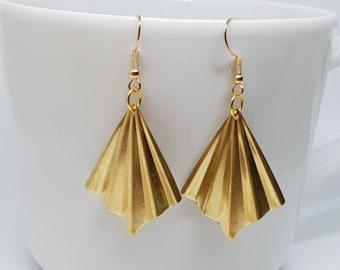 Gold Art deco style earrings, origami fan earrings, gold colour vintage style jewellery, 1920s style gold jewelry