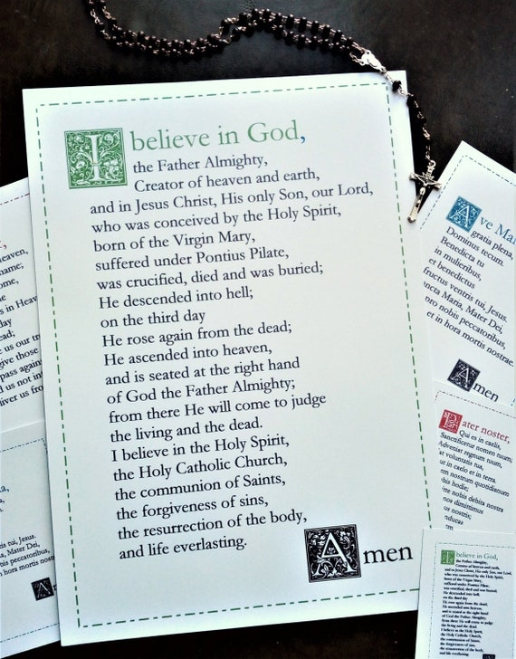 photo relating to Printable Catholic Prayer Cards called Apostles Creed English Catholic prayer card / printable A4 wall artwork / Christian decor