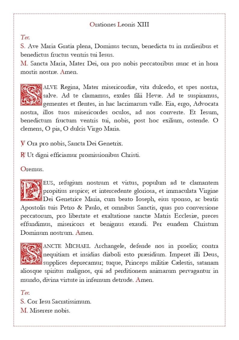 Oratio Leonis XIII/Leonine Prayers Latin and English Catholic Printable for  Low Mass in the Extraordinary Form