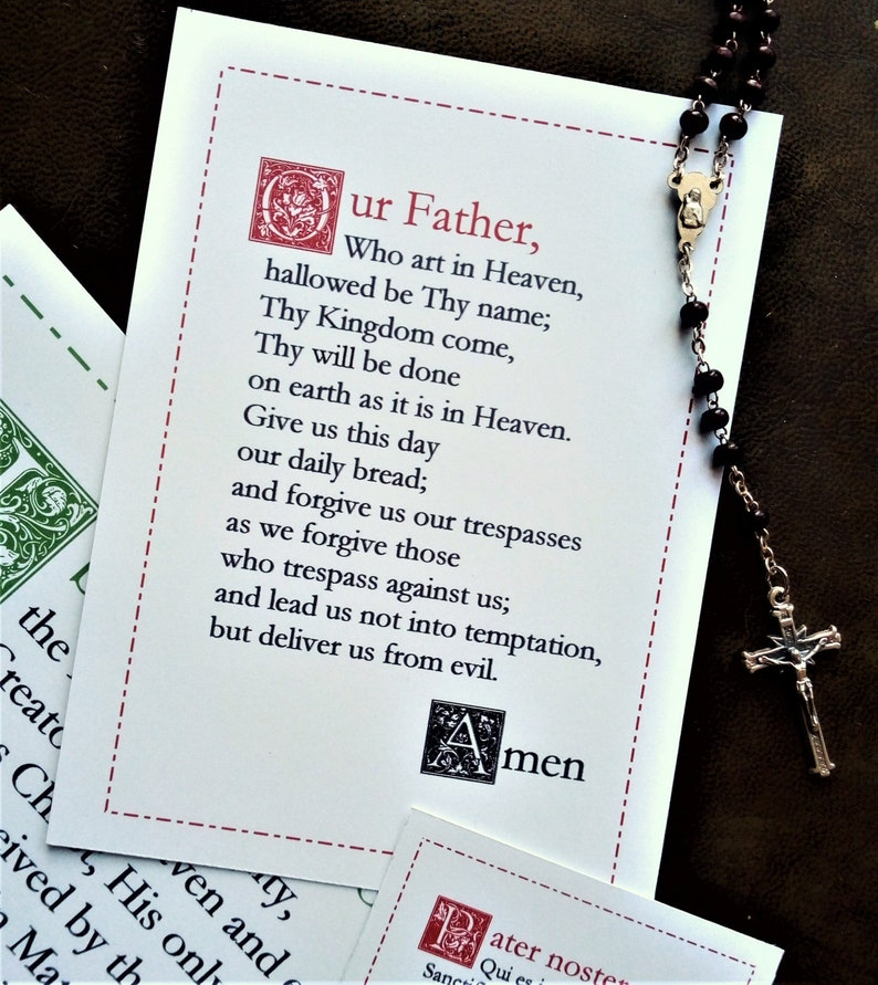 photo relating to Printable Catholic Prayer Cards named Our Dad English Catholic prayer card / printable A4 wall artwork / Christian decor