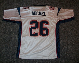 SONY MICHEL Patriots Unsigned Custom White Sewn New Football Jersey Size S a5b286f8d