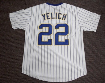 2d45f1d4bcb CHRISTIAN YELICH Milwaukee Brewers Unsigned Custom Pinstripe Throwback  Pullover Sewn New BaseballJersey Size S