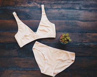 Women's Bralette and Bikini Set - Almond (light nude) - Organic Cotton Underwear - Women's Briefs - Women's Bralette