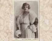 Actress Gladys Cooper In a beautiful dress and a coat with fluffy fur collar - UNUSED Original Edwardian postcard from the early 1900 39 s.