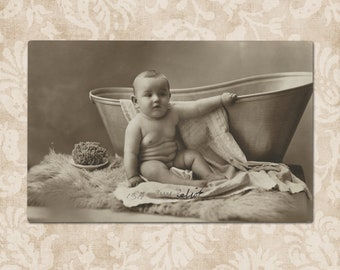 Cute baby about to take a bath - Original vintage postcard from the early 1900's.