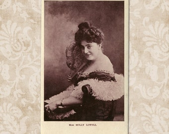 RARE - Actress Molly Lowell with feather fan - Antique postcard from the early 1900's.