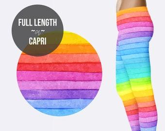 40935b90cb002 Rainbow Stripe Legging - Yoga Legging - Tights
