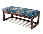 Emra Wood Seat Bench Wood Walnut Lpg-4 Paradise 05 New Ovp Shoe Cabinet Shoe Shelf Vintage Handmade Shoe Bank