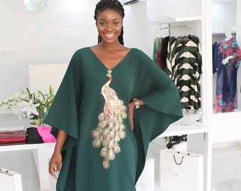 63e5d87bc74 Green Kaftan dress with peacock embroidery