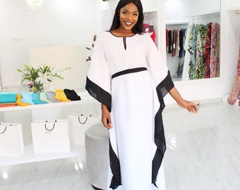 698bacb52a White chiffon Kaftan dress, plus size Kaftan maxi dress in black and white.  Fitted formal kaftan dress with belt.