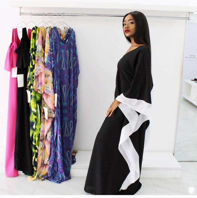 caa2585b83b Kaftan dress plus size Kaftan maxi dress in black and white.