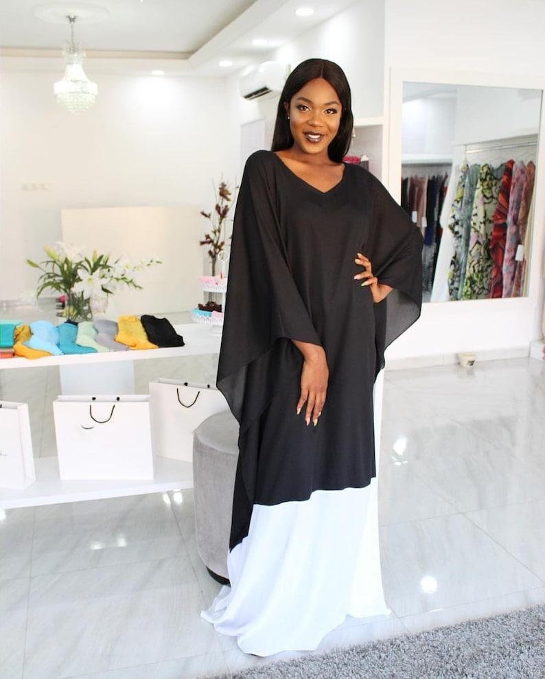 4de0ef788b Fitted Black and white chiffon Kaftan dress plus size chiffon