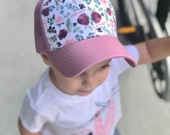 1b1a2ff19250a Floral trucker hat for toddler girl