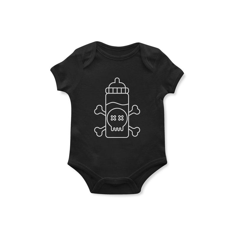 punk baby Bottle /& Bones baby bodysuit goth baby gothic baby