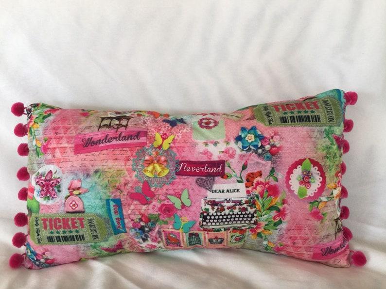 Pretty pink Alice in Wonderland Cushion with pink Pom Pom image 0