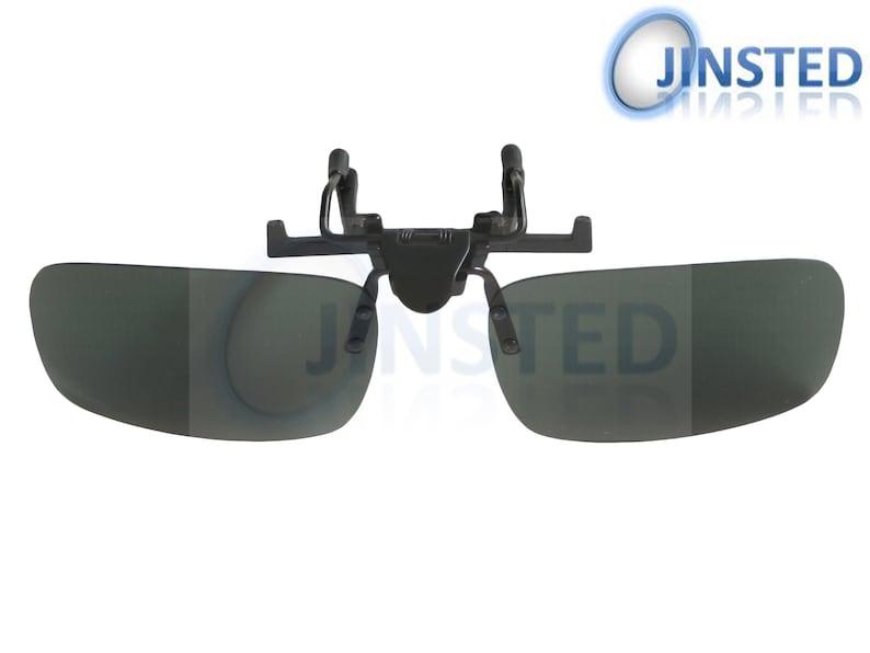 Large Medium or Small UV400 Protection ACP004 Green Polarised Clip On Flip Up Sunglasses