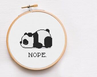NOPE Tired Panda Cross Stitch Pattern -  Panda Cross Stitch Chart - Funny Cross Stitch Patterns