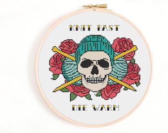 Knit Fast, Die Warm Cross Stitch Pattern - Knitting Cross Stitch Chart - Crafty Gift, Gift for Crafter - Tattoo Style Knitting Needles