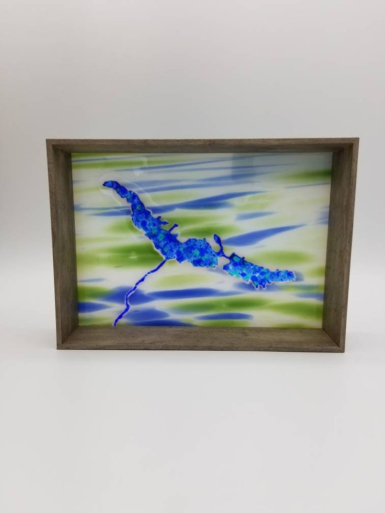 capture your favorite lake in glass /& box frame Lakes in fused glass