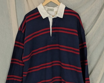 80dad5ca 90s Men's L.L.Bean Striped Rugby Shirt