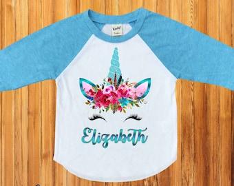 Unicorn Birthday Shirt,Unicorn Birthday Party shirt,Unicorn Raglan shirt,unicorn Raglan,Custom Unicorn Birthday shirt,Girl Shirt,raglan,H-62